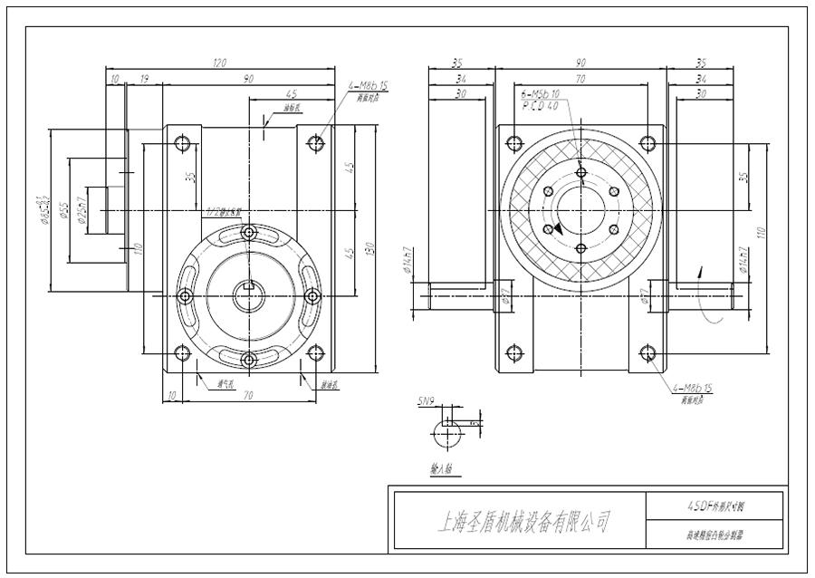 法兰型弧面凸轮分割器-SD45DF法兰外形图