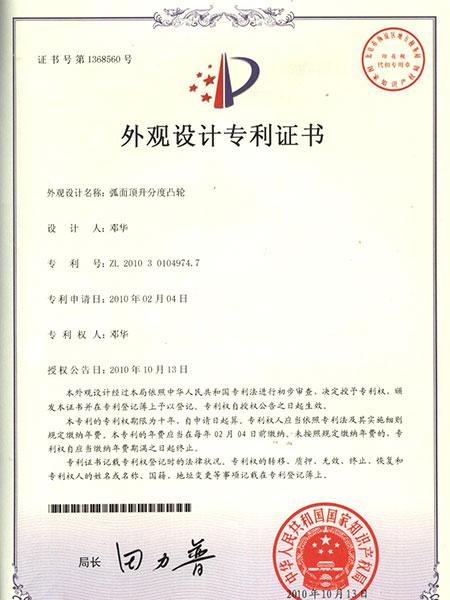 弧面顶升分度凸轮专利证书